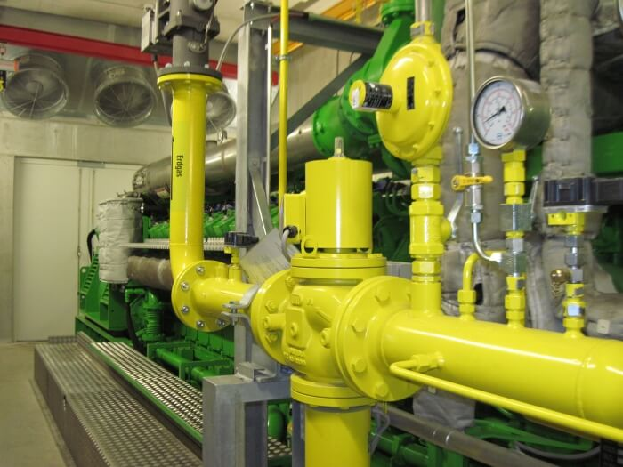 Erdgasmotor im Einsatz