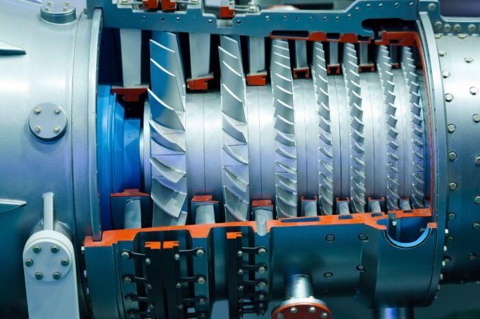 Offene Turbine mit Blick auf die Technik