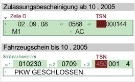 Schlüsselnummer TSN, Fundort in Zulassungsbescheinigung