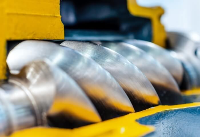 Ansicht eines Rotors eines Luft-Schraubenkompressors