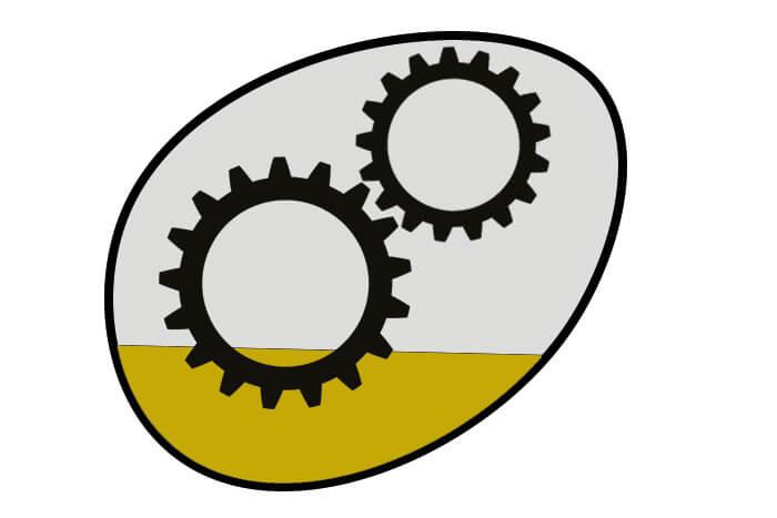 Schematische Darstellung einer Tauchschmierung bei einem Getriebe