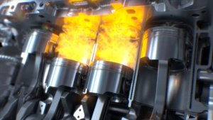 Pistons in a combustion engine